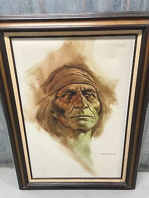 Rare Hard To find ! Marcos Maher Original Indian Chief Oil Painting With COA