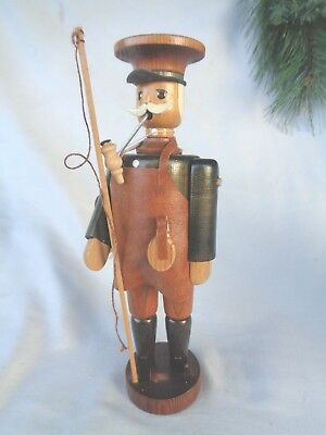 Smoker Mystery Man Ezrgebirge Wood Germany Leather Apron Flask Pole with string