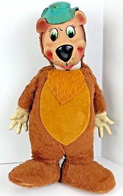 Yogi Bear large plush toy Vintage rubber head and hands