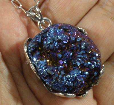 Blue Purple Dichroic Coated Druzy Quartz Agate Nugget Pendant Necklace 20-22.5""