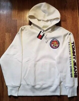 Tommy Hilfiger Jeans 90s Sailing Gear Hoodie Sweatshirt Cream Size Large NWT 26c2697920