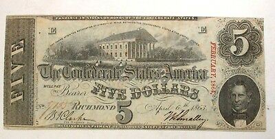 1863 Confederate States of America Five Dollar Currency Bill Note W/ Cancel Mark