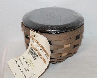 2014 New Longaberger Khaki Check Little Things Basket, Lid, Protector, Tags