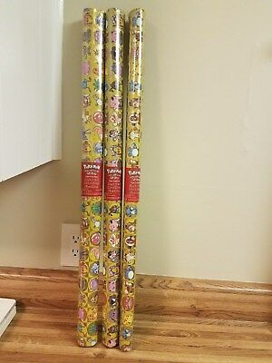 Lot of 3 Rolls Pokemon Gift Wrap 20 Sq Ft Nintendo Wrapping Paper