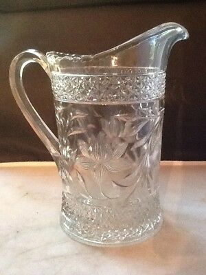 GLASS PITCHER---EAPG Pressed Glass Pitcher - 7.5""