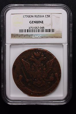 1776-EM Russian Empire Copper 5 Kopeks Catherine The Great NGC CERTIFIED!