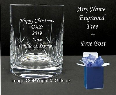 Personalised Engraved Whiskey Glass tumbler, birthday gifts 40th, 50th, 60th