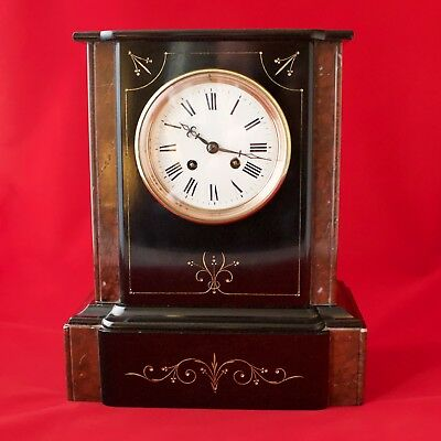 Victorian Slate And Marble Mantel Clock Japy Freres