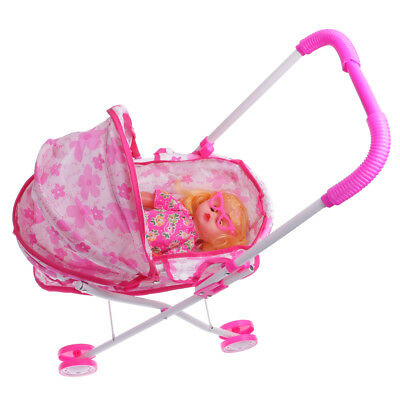 Doll W/ Stroller Pram Buggy Girls Junior Toy Foldable Pushchair Kids Toys