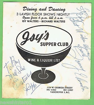 #T39.  Wine & Liquor List, Isy's Supper Club, Vancouver, Canada - About 1960