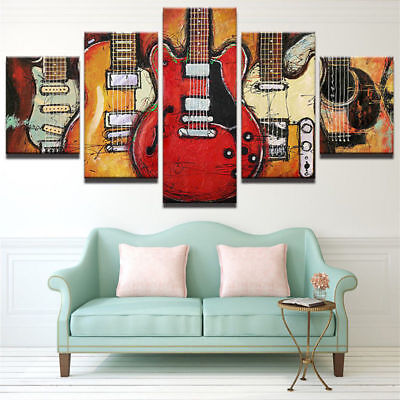 Music Instrument Electric Guitars Canvas Prints Painting Wall Art Poster 5PCS