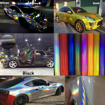 CAR GLOSSY LASER Holographic Rainbow Mirror Chrome Vinyl Auto Wrap Film  Sticker