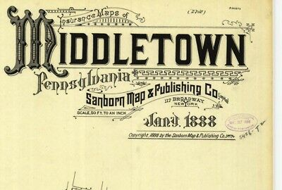 Middletown, Pennsylvania~Sanborn Map©~8 map sheets~made in 1888 in color