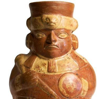 Pre-Columbian Moche vessel in the form of a warrior:450-600 AD.