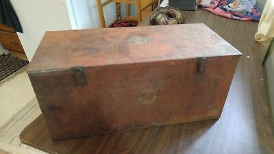 Rare Vintage Albertson SIOUX Tools Toolbox Red Metal Tool Box Chest Storage