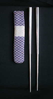 Japanese Silver Hairpins or Chopsticks, with Silk Pouch