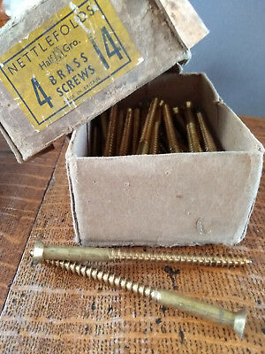 "Vintage brass screws – 4"" x 14 CSK - Qty 2"