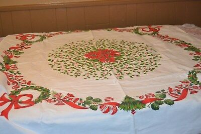 """Vintage Christmas ~ Cloth Tablecloth ~ Ornaments bows holly 52"""" by 46"""""""