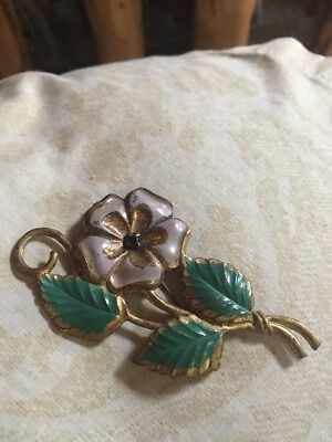 Antique Art Nouveau Victorian Deco SASH BROOCH Purple Green Flower Brass C Clasp