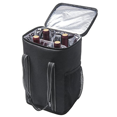 Kato Insulated Wine Carrier - Portable 4 Bottle Wine Carry Cooler Tote Bag with