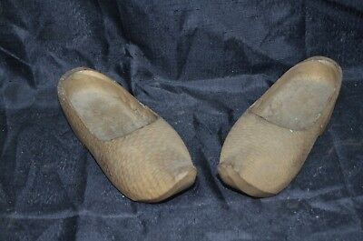 Antique  Vintage Hand Carved Wooden Dutch Clogs / Shoes  Clog Wall Decor