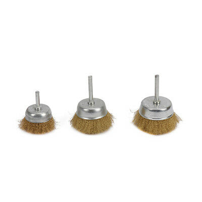 "3Pcs Crimped Brass Wire Cup Wheel Polishing Brushes For Rust Removal 1/4"" Shank"