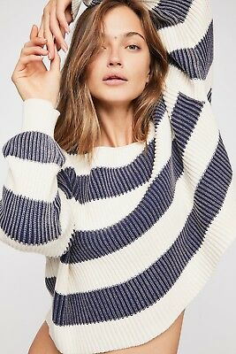 411502c67b NEW FREE PEOPLE Sz M JUST MY STRIPE RIBBED CROPPED PULLOVER SWEATER TOP $108
