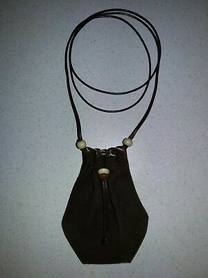 New Handmade Genuine Brown Suede Leather Pouch Medicine Bag Pendant Necklace