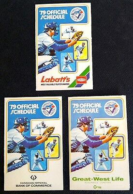 Three (3) Vintage Toronto Blue Jays Pocket Schedules 1979 - Classic & Mint!