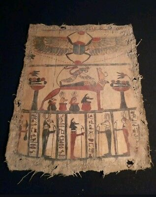 ancient egyptian linen painting scarab anubis and 4 sons of horus BC