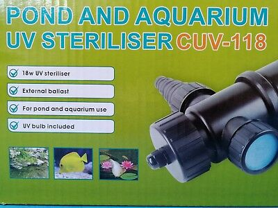 All Fish Pond Solutions Uv Light Steriliser Clarifier Filter 18W Uv Bulb Cuv-118