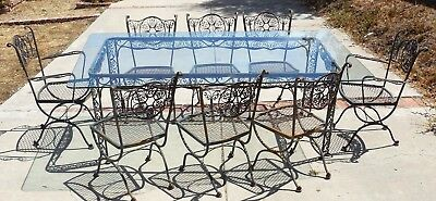 Vintage Woodard Andalusian Outdoor Patio Dining Set * 8 Chairs * Wrought Iron