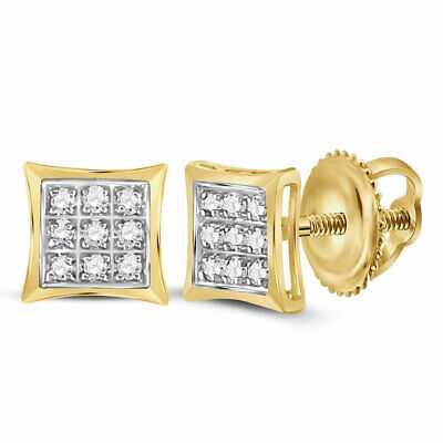 10k Yellow Gold Womens Round Diamond Square Kite Cluster Stud Earrings 1/20 Cttw