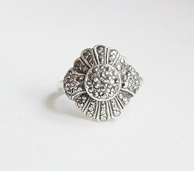 Vintage solid silver marcasite gemstone ring size M 1/2