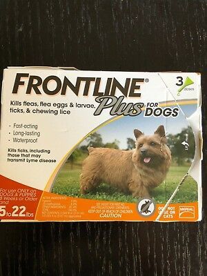 Frontline Plus Flea Lice Tick Remedy for Dogs 5-22 lbs 3 Month Dose
