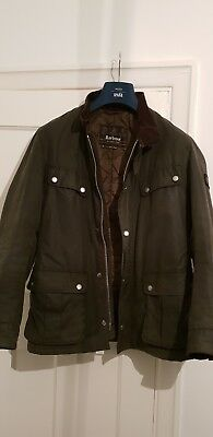 Mens Barbour Duke Wax Jacket Small Olive Green - Fantastic Condition