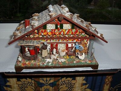 VINTAGE WOODEN SWISS CHALET CABIN REUGE MUSIC BOX HAND MADE - Laras Theme  large