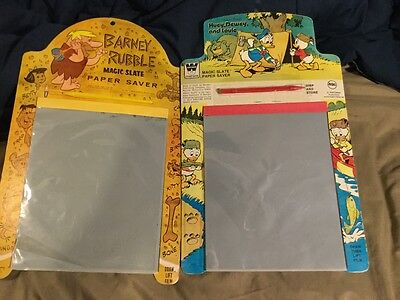 Magic Slate - 2 Paper Saver - Rare - Barney Rubble - Huey Dewey Louie 1961 -