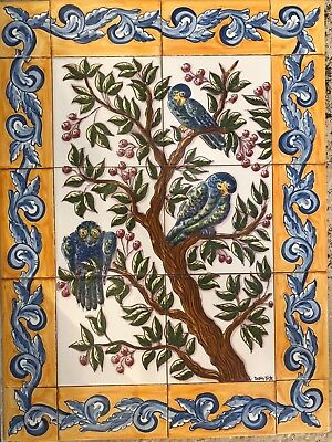 Portuguese azulejos hand painted tiles. Magnificent tree with birds.