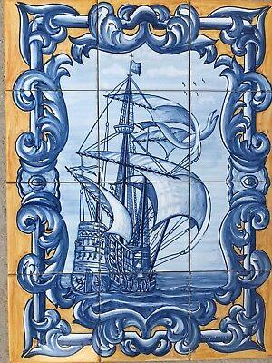 Portuguese azulejos hand painted tiles. Magnificent ship.