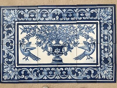 Portuguese azulejos hand painted tiles. Magnificent birds and flower.