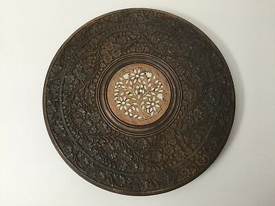"""Antique Indian Hand-Carved Wood Inlaid Folding Round Side Table, 11 3/4"""" D"""