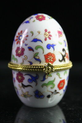 Collectable Decor Decor Porcelain Paint Leaves & Flowers Beautiful Jewelry Box