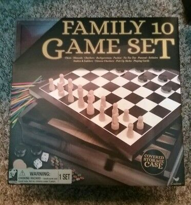 Wooden 10 in 1 Board Family Board Game Set - Chess Checkers Backgammon Solitaire