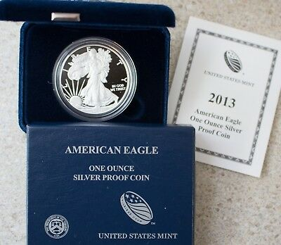 2013 AMERICAN SILVER EAGLE PROOF DOLLAR US Mint ASE Coin with Box and COA