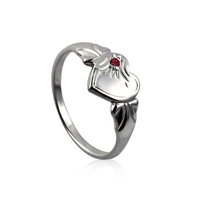 Sterling Silver 925 January Birthstone Heart Signet Ring with Garnet CZ