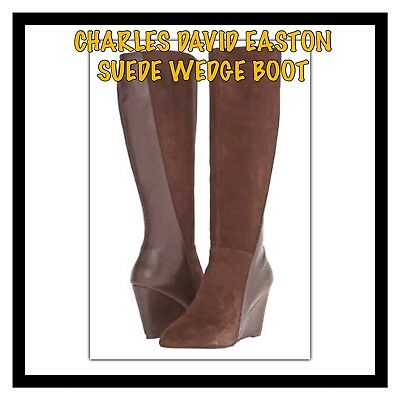 e31e6708015f Charles By Charles David Easton Brown Suede Leather Wedge Boot Size 8 New  In Box