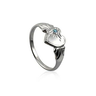 Sterling Silver 925 March Birthstone Heart Signet Ring with Aquamarine CZ