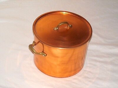 Vintage Pre-Owned Copper Brass Handles Cooking Pot Pan With Lid