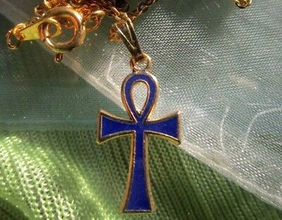 "Dainty AHNK Necklace - Egyptian Symbol for LIFE - Blue Enamel - 17"" GT Chain"